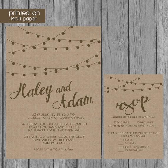 Kraft Paper Wedding Invitation Rustic Wedding by ...