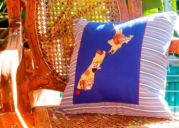 New zealand map cushion cover in pirate applique by for Ikea ship to new zealand
