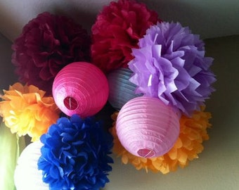 Any Colors) Pre assembled 4 lantern and 6 Pom Poms hanging  mobile