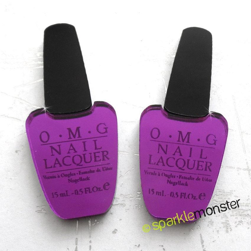 Omg purple mirror nail polish cabs for deco 2 pcs opi mua for Mirror nail polish