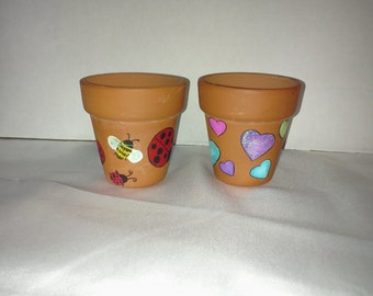 Hand Painted Terracotta Pots Lady Bugs Bumble Bees Colorful Hearts Theme 2 Small Planter Pots Home Garden Decor