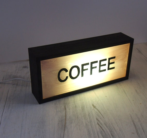 Hand Painted Lighted Signs COFFEE Vintage Wooden