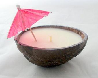 Coconut Candle, hawaiian candle, coconut shell candle, scented candle, tropical candle, unique candle, decorative candle, scented soy candle
