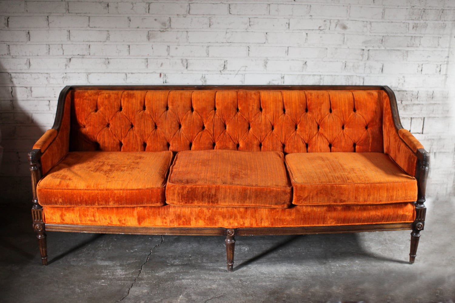 Orange Small Couch For Sale: Fall Vintage Orange Velvet Tufted Sofa Couch SALE