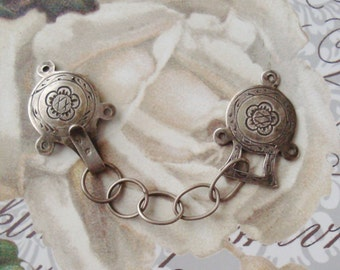 Antique Solid Silver Clasp With Chain For Cape