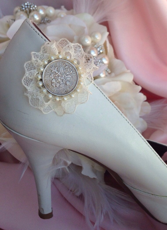 6 Pence Wedding Gift : Six Pence Wedding Day Shoe Clip by MyBlingBouquet on Etsy