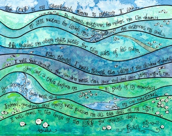 Psalm 23 Whimsical Scripture Art, Print of Watercolor, Christian art, green blue purple, the Lord is my Shepherd, teen decor or gift