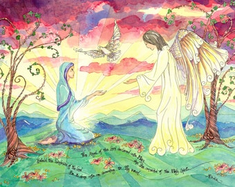 Annunciation Watercolor, Catholic Art Print with Angelus Prayer, 11x14 or 8x10