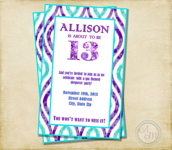Girl Birthday Party Invitation Purple Aqua Sleepover Party – 12th Birthday Invitations
