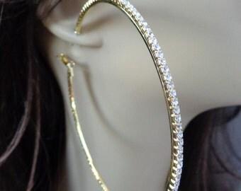 Large 4 inch Hoop Earrings Classic Thin Rhinestone Crystal Hoop Earrings Gold tone HOOPS