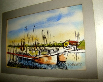 Watercolor and ink Painting of boats and a landscape on textured white high quality paper signed ROBERTS.