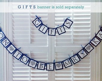 Soon To Be Mrs Banner, Navy Blue and White Paper, Lace Heart Details - Bridal Shower Decorations