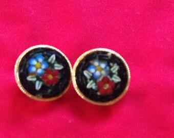 Vintage Black Mosaic Clip Earrings Italy