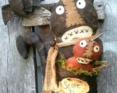 Primitive Folk Art Scare D. Cat and Pumpkin Halloween Shelf Sitter Doll--Hafair Team