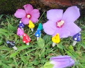 FREE US SHIPPING wonderful set of 6 pointy top mushrooms in bright bold colors great for terrarium planter and patio indoor outdoor use
