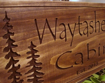 Rustic Cabin Welcome Signs Pine Tree Pine cone Primitive wood carved Sign Wooden Carved Cabin Plaque Camping Sign Birthday Gift ideas