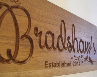 Nature Inspired Family Name Sign Welcome Sign Family Established Sign Personalized Gifts Wood Carved Sign Wood Name Plaque Benchmark Signs