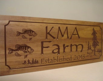 Custom Wooden Carved Signs Rustic Family Sign Welcome Signs Established Pine Tree fishing Address Plaque Name bluegill fish Benchmark Signs