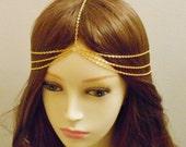 Triple Head Chain, Chain Headpiece, Hair Jewelry, Headdress, Head Jewelry, Gold Chain Jewelry