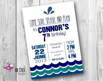 Water Birthday Invitation, Pool Party Invitation, Swimming Invitation, Water Slide Party, Printable, Digital File