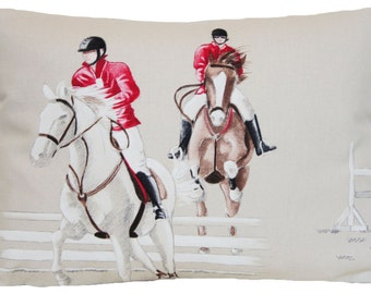 SALE Now 11.99 Was 14.99 Horse Jockeys Cushion Cover Red and Beige Decorative Throw Pillow Case Designers Cotton Fabric