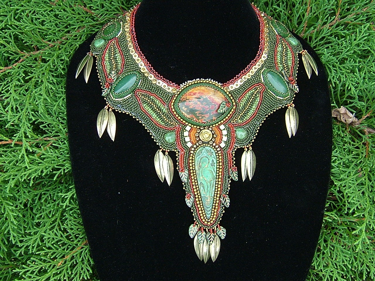 Falling leaves bead embroidered collar necklace and