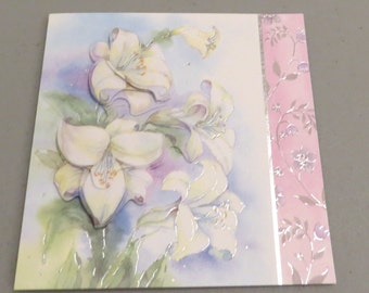 Handmade 3D White Lilies Card - Any Occasion Blank Dimensional Greeting Card with White Liliies - Limited Edition