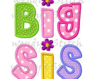Big sis sister applique machine embroidery design digital pattern