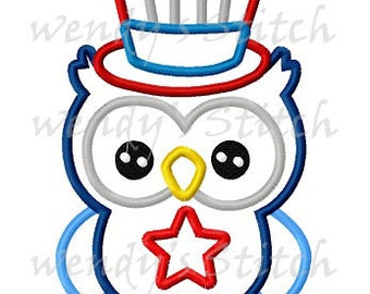 July 4th patriotic owl applique machine embroidery design