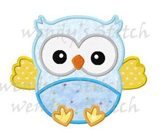 Baby owl applique machine embroidery design digital pattern instant download