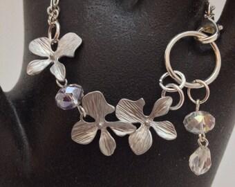 Silver orchid flower bracelet