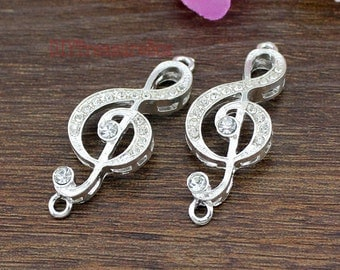 4pcs-- Music note Charms, Silver plated Rhinestone Treble Clef charm pendants, Music Symbo charms   42x16mm