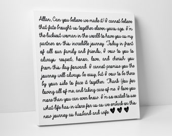 First Paper Anniversary Gift, Wedding Vows on Canvas, Valentines Day, Christmas, Fathers Day, For Him, For Her, Wedding Sign, Vow Renewal
