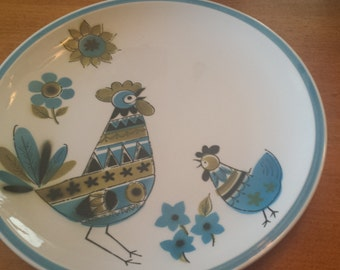 Vintage Blue Rooster Serving Platter/Plate  Made in Japan