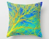 cushion cover in blue green and yellow throw pillow pillows covers case tree art print prints of life art bright modern abstract art cheap