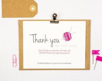 Printable Thank You Cards INSTANT DOWNLOAD - Cozily Knit
