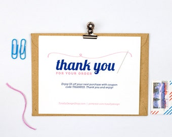 Thank You for Your Order Printable INSTANT DOWNLOAD - Elegantly Sewn