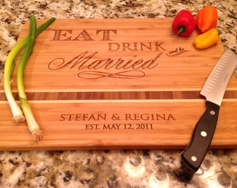 "Wedding, Eat Drink and be Married, Personalized Cutting Board,  Engraved Caribbean inlay 11""x15"" Bamboo, great wedding gift, anniversary"