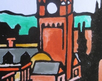 Edinburgh Linocut, Watercolor, Handpulled Art Print, Printmaking 4x8 Limited Edition