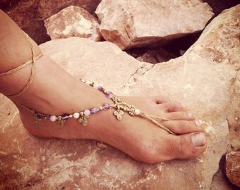 Golden AMTHYST powerfull barefoot sandals macrame barefoot hippie barefoot foot jewelry beach barefoot wedding jewelry bohemian
