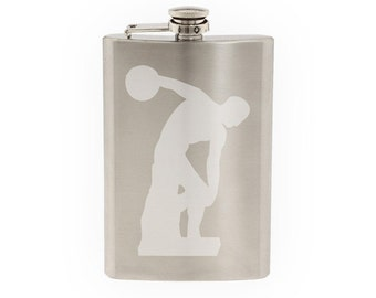 Famous Statue #1 - Discobolus of Myron Greek Discus Thrower   - Etched 8 Oz Stainless Steel Flask
