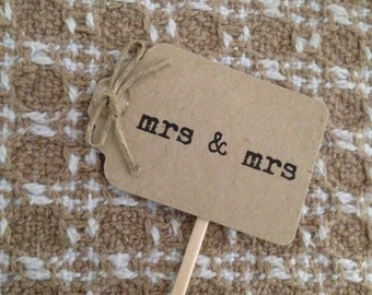 Mrs and Mrs Cupcake Topper | 12 | Rustic Wedding | Wedding Cupcake Toppers