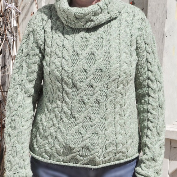 inis crafts cable knit wool sweater turtleneck cowl neck green