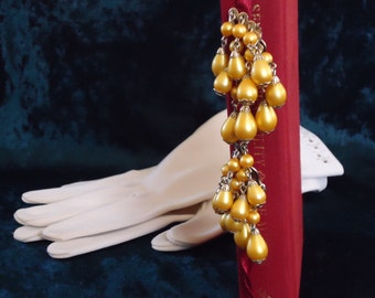 2 inch Golden Pearl Dangle and Dazzle Earrings