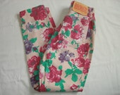 Vintage 80's Floral patterned high waisted Tapered Jeans by Bongo, 24 inch waist