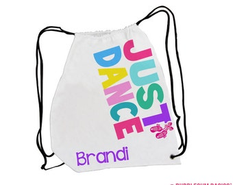 Custom Personalized Girls Dance Drawstring Backpack Tote Bag Multi Color Fun Pattern - Tap Ballet Jazz Camp Laundry Dancer