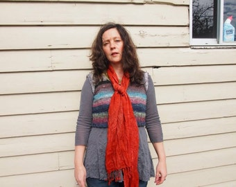 Wool gauze scarf, hand dyed with madder