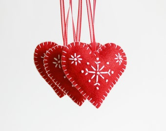 Red Felt Heart, Christmas Ornament, Red Heart Snowflakes, Heart Decoration, Xmas Tree Ornament, Xmas decor, Christmas Decor, Red Heart,Heart