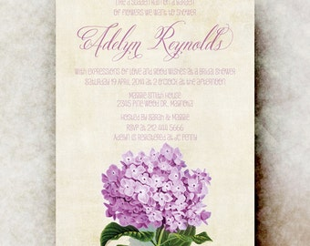 Hydrangea Bridal Shower Invitation - Purple bridal Shower invitation, Vintage bridal shower, floral bridal shower, printable invitation