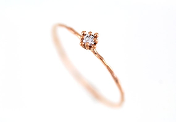 Simple Gold Ring Diamond Ring Rose Gold Gold Flower